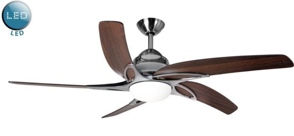 Fantasia Viper 54″ Remote Ceiling Fan LED Light Stainless Steel / Oak