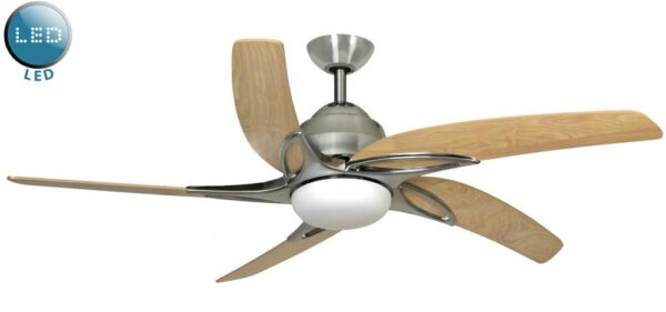 Fantasia Viper 54″ Remote Ceiling Fan LED Light Stainless Steel / Maple