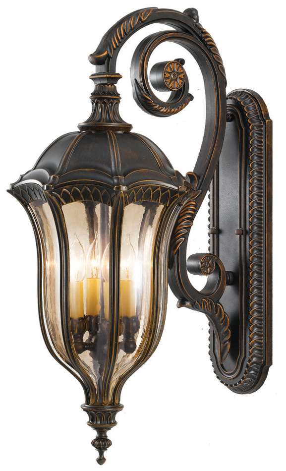 Feiss Baton Rouge Very Large Outdoor Wall Lantern Walnut Traditional