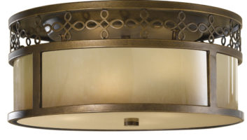 Feiss Justine Astral Bronze 3 Light Flush Ceiling Light With Oak Glass