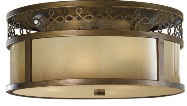 Feiss Justine Astral Bronze 3 Light Flush Ceiling Light With Oak Glass