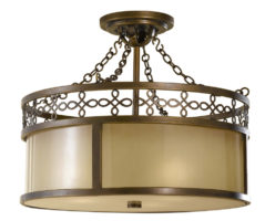 Feiss Justine Astral Bronze 3 Light Semi Flush Ceiling Light Oak Glass