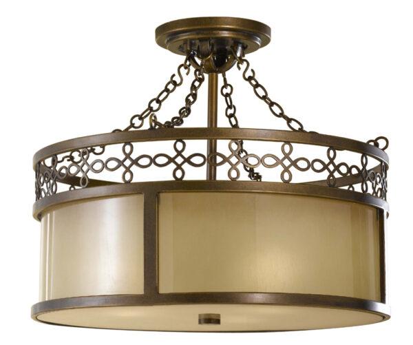 Feiss Justine Astral Bronze 3 Light Semi Flush Ceiling Light Oak Glass