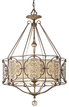 Feiss Marcella Medium Art Deco Designer 3 Light Feature Chandelier