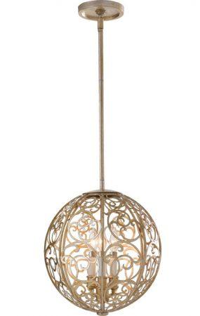 Feiss Arabesque Filigree Globe 3 Light Silver Leaf Pendant Chandelier