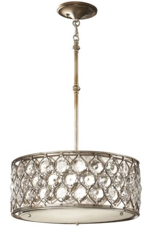 Feiss Lucia Designer 3 Light Burnished Silver Pendant With Crystal