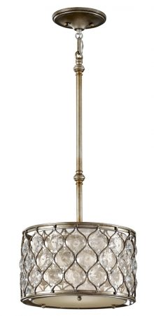 Feiss Lucia Small Designer 1 Light Burnished Silver Pendant With Crystal