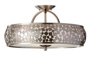 Feiss Zara Designer Semi Flush Mosaic Light Brushed Steel
