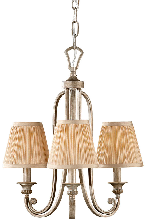 Feiss Abbey Silver Sand 3 Light Scrolled Iron Chandelier