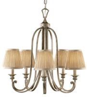 Feiss Abbey Silver Sand 5 Light Chandelier With Mushroom Shades