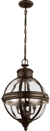 Feiss Adams Pendant Chandelier 3 Light Globe Lantern British Bronze