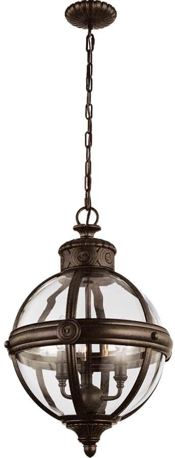 Feiss Adams Pendant Chandelier 3 Light Globe Lantern British Bronze