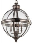 Feiss Adams 4 Light Globe Pendant Chandelier Lantern Antique Nickel