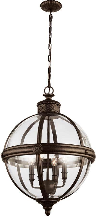 Feiss Adams 4 Light Globe Pendant Chandelier Lantern