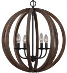 Feiss Allier 4 Light Pendant Globe Weathered Oak