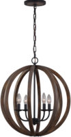 Feiss Allier Antique Forged Iron 4 Light Pendant Globe Weathered Oak