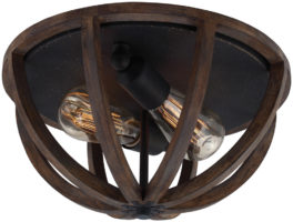 Feiss Allier Antique Forged Iron 2 Light Flush Mount Ceiling Light Weathered Oak