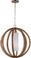 Feiss Allier Brushed Steel 1 Light Large Pendant Globe Light Oak