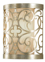 Feiss Arabesque Wall Washer Light Silver Leaf Ivory Linen Fabric