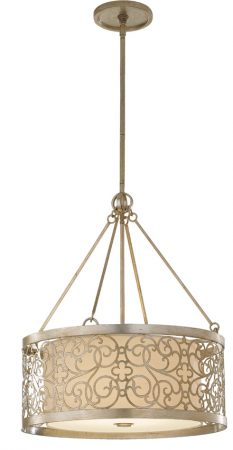 Feiss Arabesque Silver Leaf Drum 4 Light Ivory Fabric Pendant Chandelier