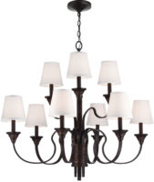 Feiss Arbor Creek 2 Tier Large 9 Light Chandelier With Ivory Linen Shades