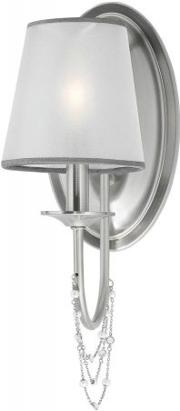 Feiss Aveline Brushed Steel Single Wall Light With Organza Shade