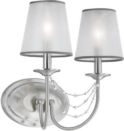 Feiss Aveline Brushed Steel Double Wall Light With Organza Shades