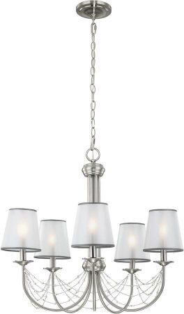 Feiss Aveline Brushed Steel 5 Light Chandelier With Organza Shades