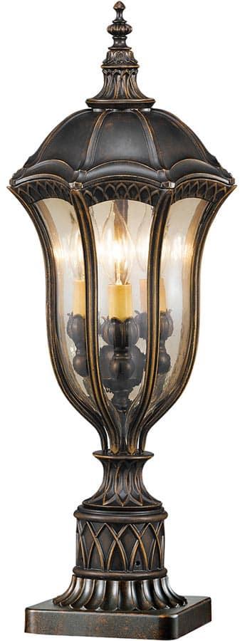 Feiss Baton Rouge Walnut 3 Light Outdoor Pedestal Lantern