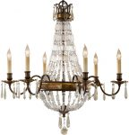 Feiss Bellini 6 Light Quartz Crystal Chandelier Oxidised Bronze