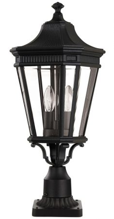 Feiss Cotswold Lane 2 Light Medium Outdoor Pedestal Lantern In Black