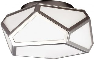 Feiss Diamond Art Deco 2 Light Flush Mount Polished Nickel