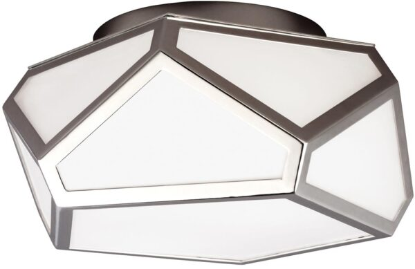 Feiss Diamond Flush 2 Light Ceiling Mount Polished Nickel Art Deco Style