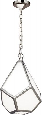 Feiss Diamond 1 Light Small Pendant Polished Nickel Art Deco Style