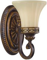 Feiss Drawing Room Walnut 1 Lamp Wall Light With Amber Scavo Glass