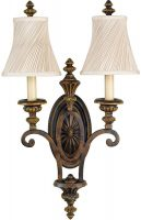 Feiss Drawing Room Walnut 2 Lamp Tall Wall Light With Swirl Shades