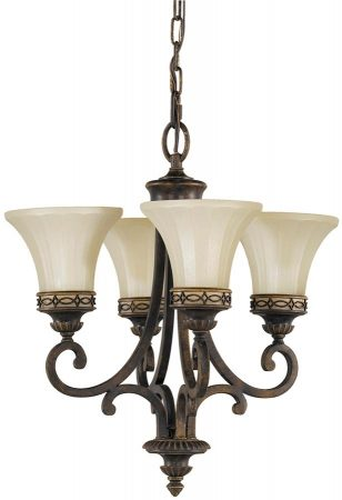 Feiss Drawing Room Walnut 4 Light Chandelier Amber Scavo Glass