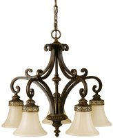 Feiss Drawing Room Walnut 5 Light Downward Chandelier Amber Scavo Glass