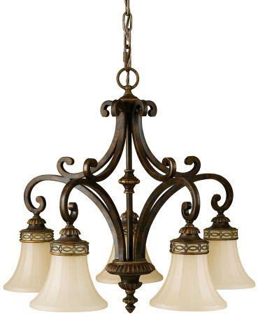 Feiss Drawing Room 5 Light Chandelier Walnut Amber Scavo Glass