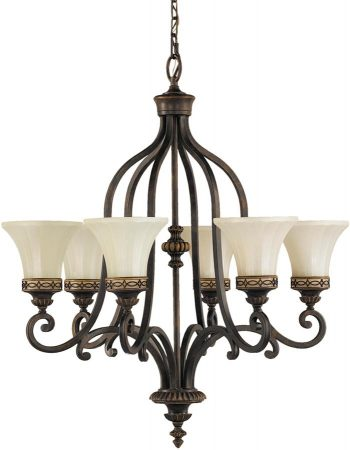 Feiss Drawing Room 6 Light Chandelier Walnut Amber Scavo Glass