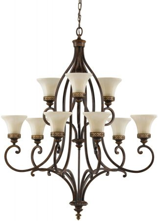 Feiss Drawing Room 9 Light 2 Tier Large Chandelier Walnut