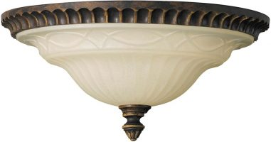 Feiss Drawing Room Flush 2 Light Ceiling Light Walnut With Scavo Glass