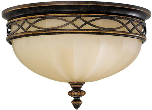 Feiss Drawing Room Flush 3 Light Ceiling Light Walnut With Scavo Glass