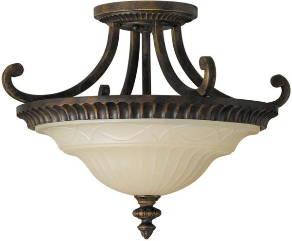 Feiss Drawing Room 2 Light Semi Flush Walnut With Scavo Glass Shade