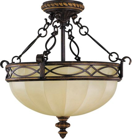 Feiss Drawing Room 2 Light Semi Flush Walnut Scavo Glass