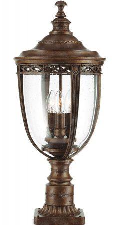 Feiss English Bridle 3 Light Large Outdoor Pedestal Lantern British Bronze
