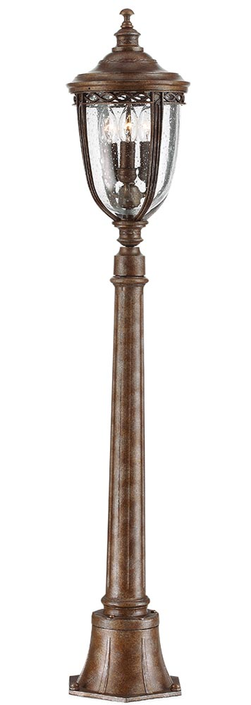 Feiss English Bridle 3 Light Outdoor Post Lantern In British Bronze
