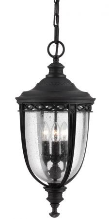 Feiss English Bridle 3 Light Large Hanging Outdoor Porch Lantern In Black
