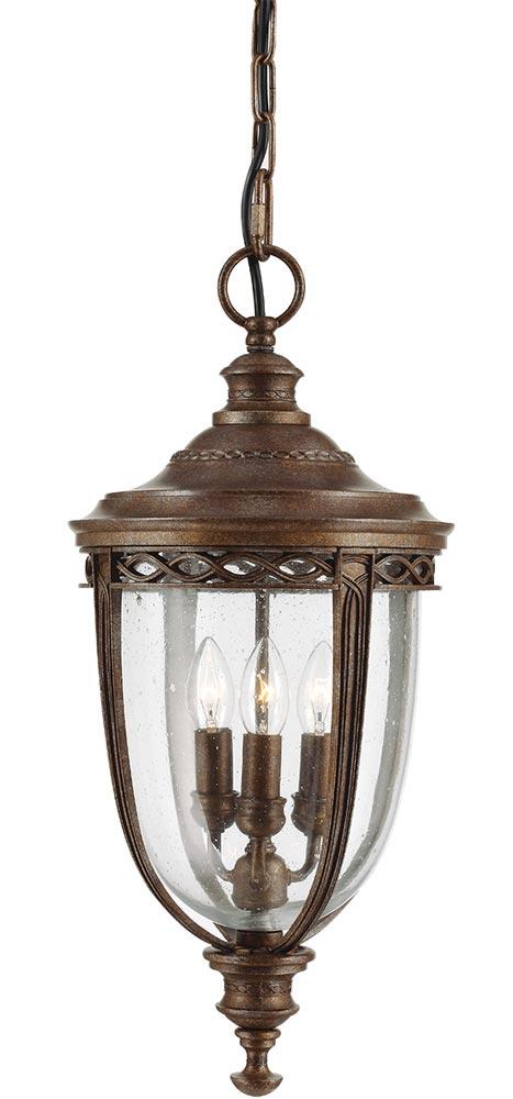Feiss English Bridle 3 Light Large Hanging Porch Lantern British Bronze