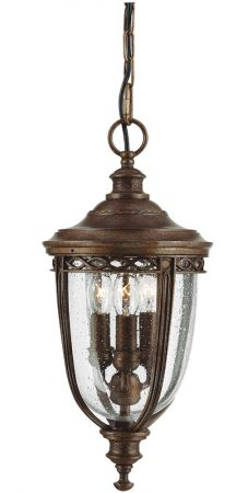 Feiss English Bridle 3 Light Medium Hanging Porch Lantern British Bronze